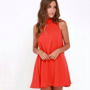 NWOT Lulu's Mod Maven Orange Swing Dress